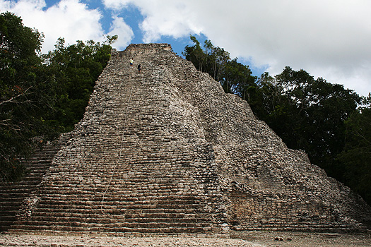 The Nohoch Mul or Big Mound pyramid stands at 42m high