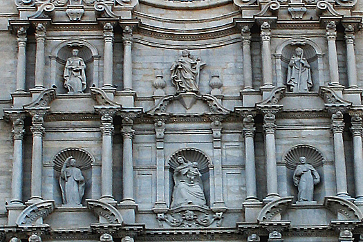 The Baroque facade of the Catedral on Plaça de Catedral, Girona