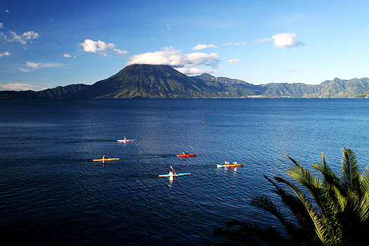 Volcán de Tolimán rising above Lago de Atitlán as viewed from Panajachel