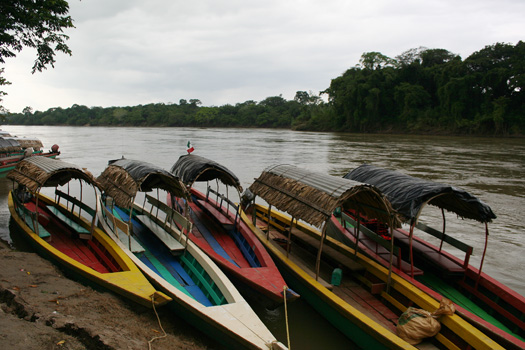 Lanchas on the bank of the Rio Usumacinta in Frontera Corozal, Chiapas
